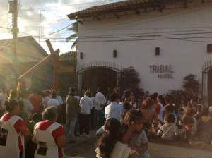 Semana Santa procession in fron t of Tribal Hotel.